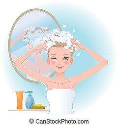 石けんで洗うこと, 頭, 女, かなり, 彼女