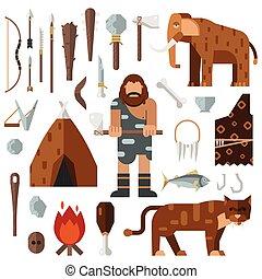 石器時代, 洞穴, 生活, マンモス, たき火, vector., 穴居人, 骨