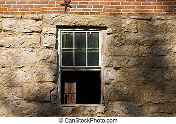 石头墙, 带, 窗口