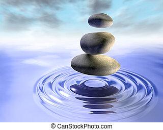 石头, 同时,, 水