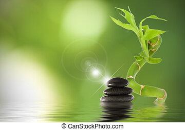 石头, 水, 竹子, 黑色, 反映