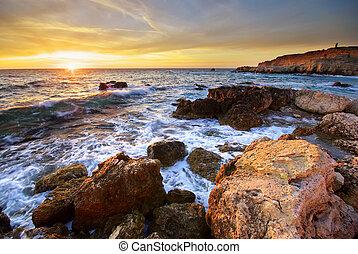 石头, 海, 日落