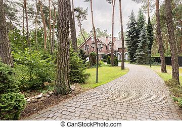 石头, 车道, 对于, 英语, 红的砖, 住处, 在中, the, 森林