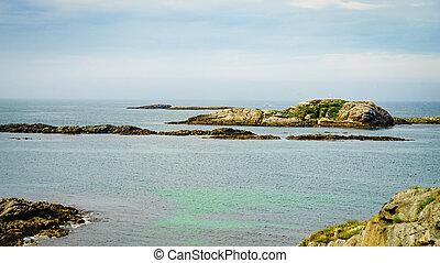石头, andoya, 鸟, 海, norway, 岛