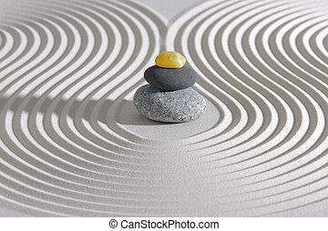 石头, zen, 堆积, 花园日本人
