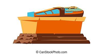 石棺, ファラオ, エジプト, 古代, ベクトル