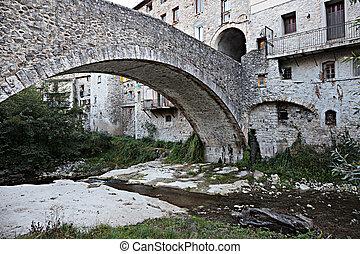 石橋, 中に, ∥, 古い, フランス語, 町