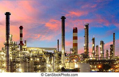 石油化学, -, ガス, 工場, 精製所, オイル, たそがれ