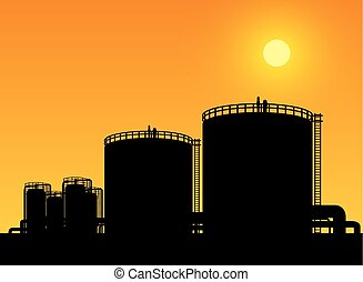 石油化学, タンク, 財産, 産業, 貯蔵, 精製所, オイル