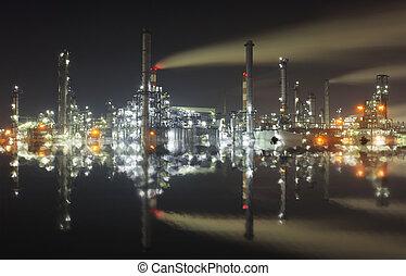 石油化学 植物, 中に, 夜