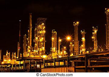 石油化学 植物, 中に, ∥, 夜, タイ