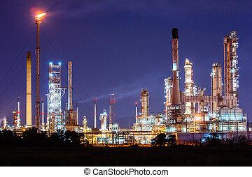 石油化学, 石油精製所, 植物, 夜で