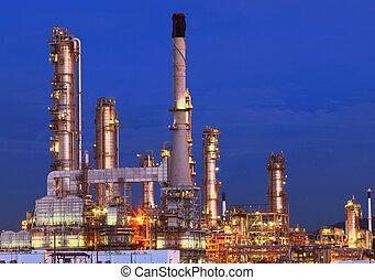 石油化学, 重い, 石油精製所, 照明, 美しい, 植物