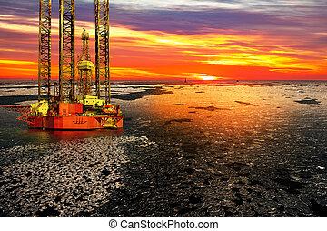 石油操練, 裝置, 在海, 在, 冬天