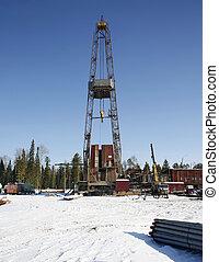 石油操練, rig., 石油工業, equi