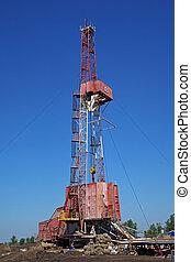 石油操練, rig., 石油工業, equipment.