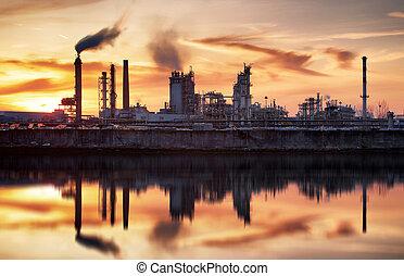 石油産業, シルエット, petrechemical, 植物, -, 精製所