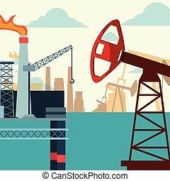 石油産業, プラットホーム, ポンプ, 生産, ジャッキ, 海