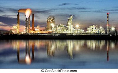 石油産業, 夜で, petrechemical, 植物, -, 精製所