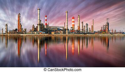 石油精製所, ∥において∥, 日没, ∥で∥, 反射