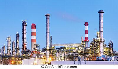 石油精製所, 産業, 植物, 前方へ, たそがれ, 朝