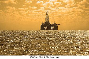 石油裝置, 在期間, 傍晚, 在, baku, 阿塞拜疆, 在, caspian 海