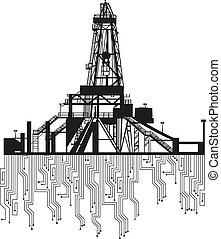 石油裝置, 黑色半面畫像, 在懷特上, 背景。
