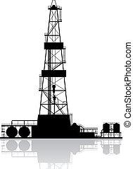 石油裝置, silhouette., 詳細, 矢量, 插圖, 被隔离, 在懷特上, 背景。