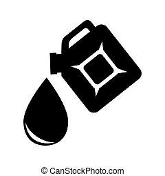 石油, シルエット, 低下, 容器, プラスチック