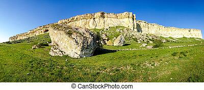 石灰岩, パノラマ, 空, に対して, 端, 急勾配である, プラトー