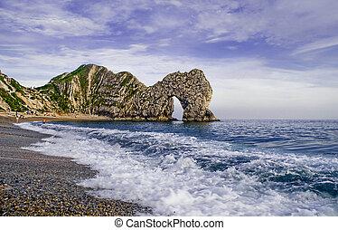 石灰岩, 自然, lulworth, もたらされる, アーチ道, 入り江, erosion.