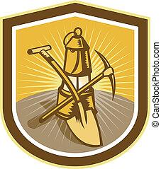 石炭 抗夫, 一突きの 斧, シャベル, ランプ, 保護, レトロ
