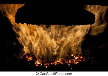 石炭, furnace., 内部