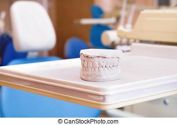 石膏, 假牙, 以及, 牙齒的椅子, 設備, 牙齒, 門診部, 內部