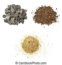 石頭, 土壤, 沙子, 在懷特上, 背景