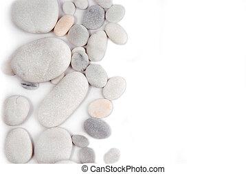 石頭, 框架, 背景, 白色, 邊框, 卵石