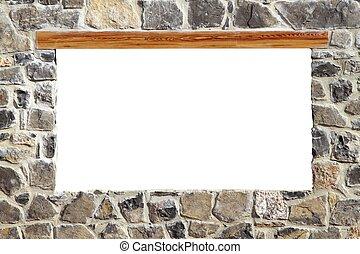 石頭, 泥瓦工, 牆, 窗口, 空白, copyspace