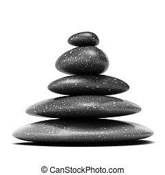 石頭, 金字塔, 由于, 五, 黑色, 卵石, 在上方, 白色 背景