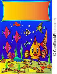石頭, fish, 海藻, 背景, 海面以下