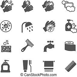 石鹸, 洗浄, 反, アイコン, set., 使用, 衛生, ベクトル, 黒, 手, 衛生, 細菌, 消毒薬, アイコン