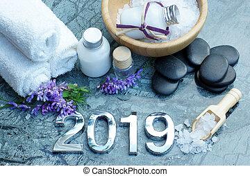 石, うそ, 黒, セット, 浴室, ローション, 暑い, プロシージャ, 2019, タオル, エステ, 白, 準備された, 塩, マッサージ, 近くに