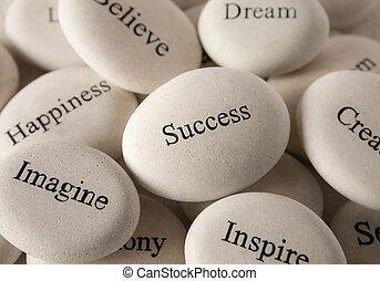 石, -, インスピレーションを与える, 成功