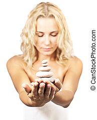 石, エステ, 女性, 禅, 手