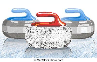 石, カール, game., ice., ベクトル, スポーツ, rink., illustration.