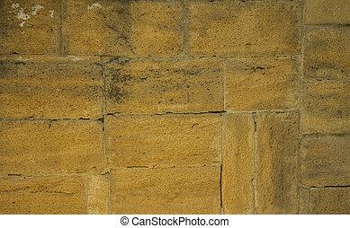 石, グランジ, 壁, 型, 手ざわり, 黄色の背景, 古い, れんが