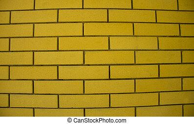 石, グランジ, 壁, 現代, 手ざわり, 黄色の背景, 古い, れんが