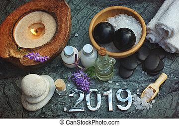 石, セット, プロシージャ, 蝋燭, そこに, bian, 浴室, また, オイル, エステ, 2019, 白, タオル, 塩, 前方へ, マッサージ