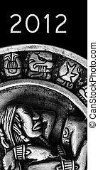 石, テキスト, mayan, 刻まれた, カレンダー, glyphs, 2012