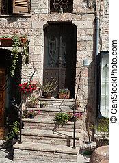 石, トスカーナ, 中世, 家, ポット, ステップ, 花