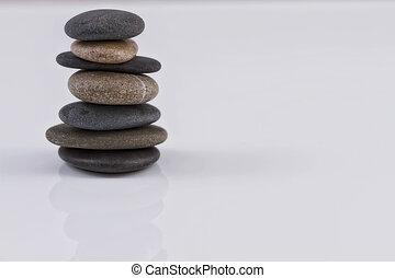 石, バランス, 山, 海